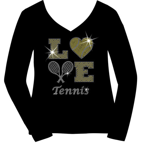 LOVE Tennis Holographic Sparkle Spangle Bling shirt - Ladies Short, Long Sleeve, Tank or Hoodie Sweatshirt-LS Shirt, SS Shirt, Racerback tank and hoodie-Becky's Boutique-X-Small-Ladies Long Sleeve V-neck-Beckys-Boutique.com
