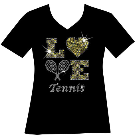 LOVE Tennis Holographic Sparkle Spangle Bling shirt - Ladies Short, Long Sleeve, Tank or Hoodie Sweatshirt-LS Shirt, SS Shirt, Racerback tank and hoodie-Becky's Boutique-X-Small-Ladies Short Sleeve V-neck-Beckys-Boutique.com