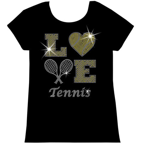 LOVE Tennis Holographic Sparkle Spangle Bling shirt - Youth Short, Long Sleeve, Tank or Hoodie Sweatshirt-Youth LS, SS, tank and Hoodie-Becky's Boutique-X-Small-Girls Short Sleeve-Beckys-Boutique.com