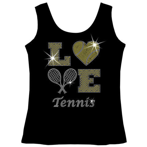 LOVE Tennis Holographic Sparkle Spangle Bling shirt - Youth Short, Long Sleeve, Tank or Hoodie Sweatshirt-Youth LS, SS, tank and Hoodie-Becky's Boutique-X-Small-Girls Tank Top-Beckys-Boutique.com