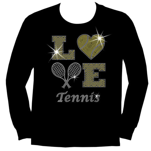 LOVE Tennis Holographic Sparkle Spangle Bling shirt - Youth Short, Long Sleeve, Tank or Hoodie Sweatshirt-Youth LS, SS, tank and Hoodie-Becky's Boutique-X-Small-Youth Long Sleeve-Beckys-Boutique.com