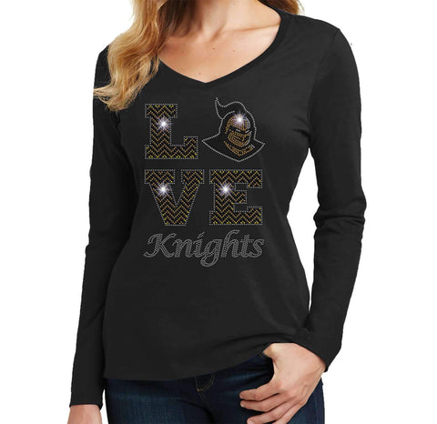 LOVE UCF University of Central Florida Knightro - Ladies Long Sleeve V-Neck Ladies Long Sleeve V-neck Becky`s Boutique Extra Small