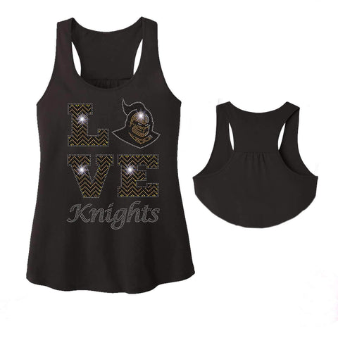 LOVE UCF University of Central Florida Knightro - Ladies Racerback Tank ladies racerback tank Becky`s Boutique Extra Small