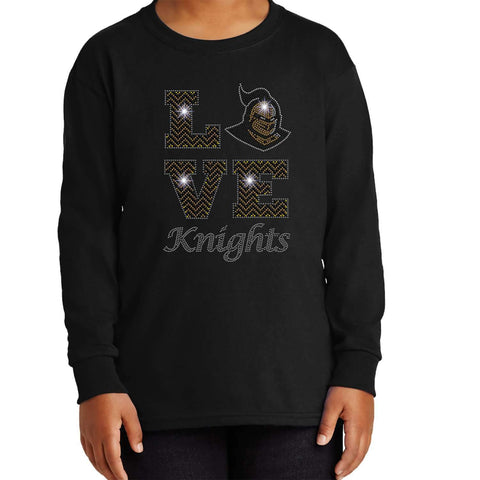 LOVE UCF University of Central Florida Knightro - Youth Long Sleeve Youth Long Sleeve Becky`s Boutique Extra Small