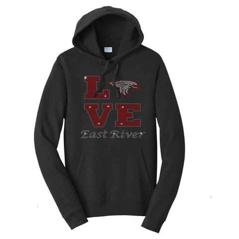LOVE with Falcon Head-East River Falcons- High School - Hoodie Sweatshirt Hoodie Sweatshirt Becky`s Boutique Extra Small