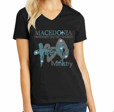 Macedonia Missionary Baptist Church shirt twenty 30- Spangle Rhinestone Bling shirt - available in adult, youth, short, long sleeve, tank or hoodie sweatshirt Churches Becky's Boutique Womens Extra-small Womens short sleeve V-neck