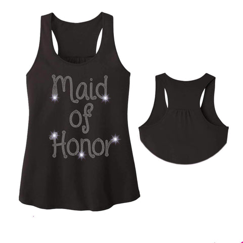 Maid of Honor Wedding Spangle Rhinestone Bling shirt - Ladies Racerback Tank ladies racerback tank Becky`s Boutique Extra Small