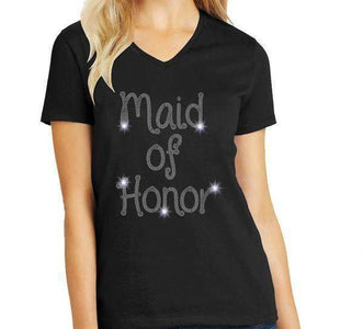 Maid of Honor Wedding Spangle Rhinestone Bling shirt - available in adult, youth, short, long sleeve, tank or hoodie sweatshirt Weddings Becky's Boutique Womens Extra-small Womens short sleeve V-neck