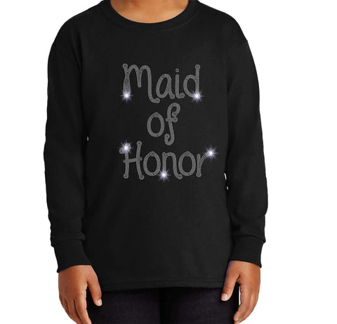 Maid of Honor Wedding Spangle Rhinestone Bling shirt - Youth Long Sleeve Youth Long Sleeve Becky`s Boutique Extra Small