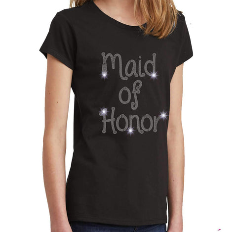Maid of Honor Wedding Spangle Rhinestone Bling shirt - Youth Short Sleeve Youth Short Sleeve Becky`s Boutique Extra Small