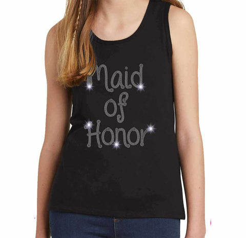 Maid of Honor Wedding Spangle Rhinestone Bling shirt - Youth Tank Youth Tank Becky`s Boutique Extra Small