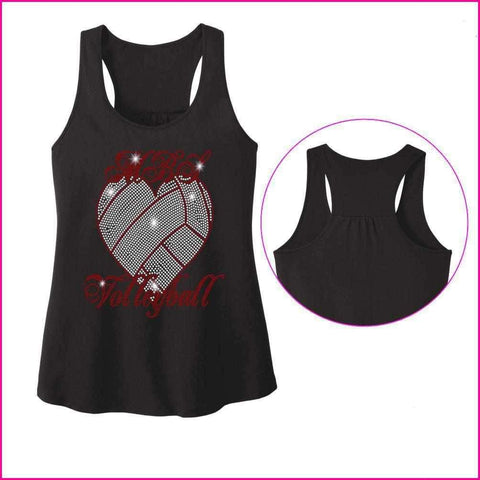 MBS Heart Volleyball Spangle Rhinestone Bling shirt - Ladies Racerback Tank ladies racerback tank Becky`s Boutique Extra Small