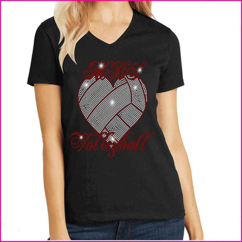 MBS Heart Volleyball Spangle Rhinestone Bling shirt - available in adult, youth, short, long sleeve, tank or hoodie sweatshirt Sports Becky's Boutique Womens Extra-small Womens short sleeve V-neck
