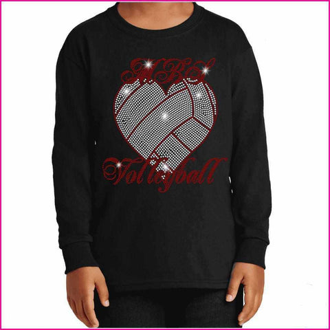 MBS Heart Volleyball Spangle Rhinestone Bling shirt - Youth Long Sleeve Youth Long Sleeve Becky`s Boutique Extra Small