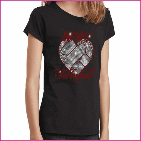 MBS Heart Volleyball Spangle Rhinestone Bling shirt - Youth Short Sleeve Youth Short Sleeve Becky`s Boutique Extra Small