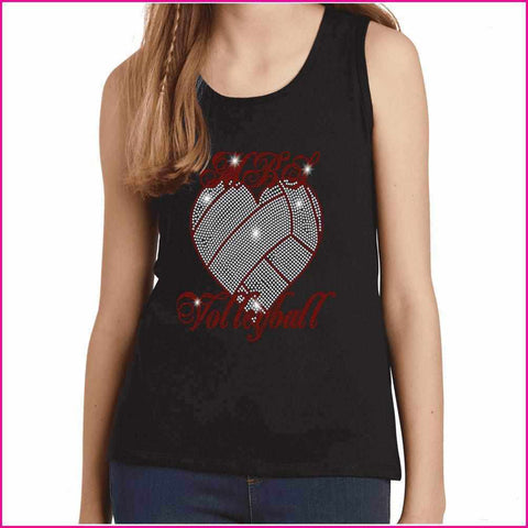 MBS Heart Volleyball Spangle Rhinestone Bling shirt - Youth Tank Youth Tank Becky`s Boutique Extra Small