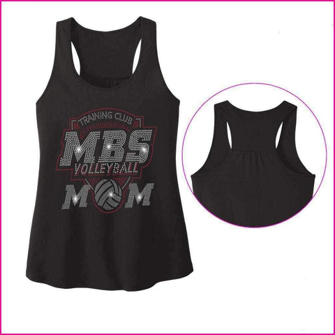 MBS Volleyball Mom Spangle Rhinestone Bling shirt - Ladies Racerback Tank ladies racerback tank Becky`s Boutique Extra Small