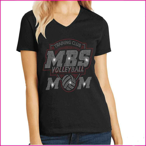 MBS Volleyball Mom Spangle Rhinestone Bling shirt - available in adult, youth, short, long sleeve, tank or hoodie sweatshirt Sports Becky's Boutique Womens Extra-small Womens short sleeve V-neck