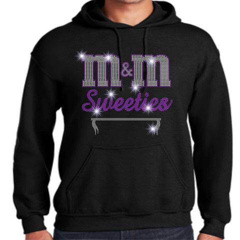Image of M&M Sweeties Twirl Team Spangle Rhinestone Adult Hoodie Sweatshirt Hoodie Sweatshirt Beckys-Boutique.com Small Black