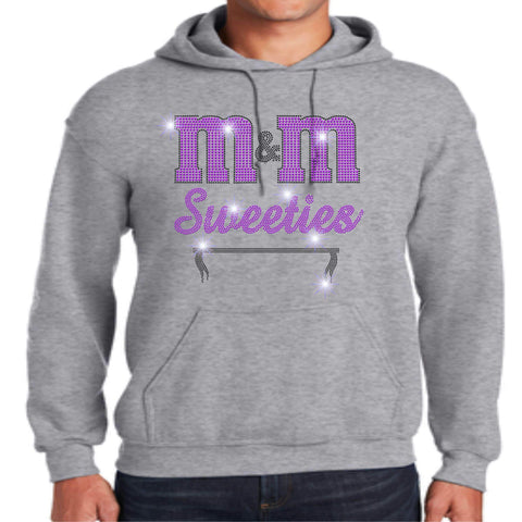 Image of M&M Sweeties Twirl Team Spangle Rhinestone Adult Hoodie Sweatshirt Hoodie Sweatshirt Beckys-Boutique.com Small Gray