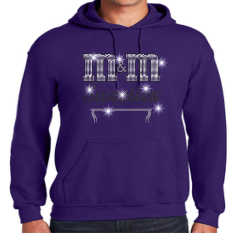 Image of M&M Sweeties Twirl Team Spangle Rhinestone Adult Hoodie Sweatshirt Hoodie Sweatshirt Beckys-Boutique.com Small Purple