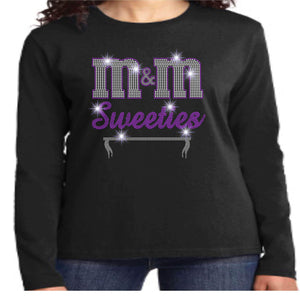 M&M Sweeties Twirl Team Spangle Rhinestone Womens Long Sleeve Crew Neck Shirt Ladies Long Sleeve crew neck Beckys-Boutique.com Extra Small Black