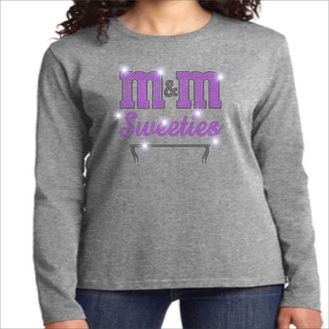 M&M Sweeties Twirl Team Spangle Rhinestone Womens Long Sleeve Crew Neck Shirt Ladies Long Sleeve crew neck Beckys-Boutique.com Extra Small Gray
