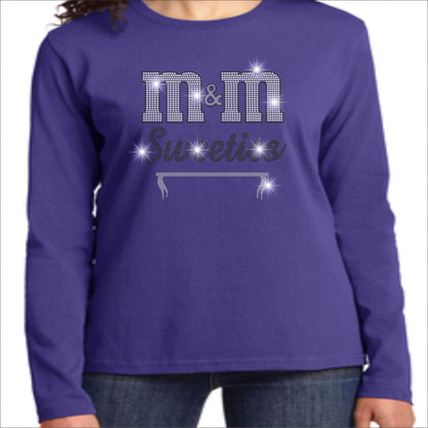 M&M Sweeties Twirl Team Spangle Rhinestone Womens Long Sleeve Crew Neck Shirt Ladies Long Sleeve crew neck Beckys-Boutique.com Extra Small Purple
