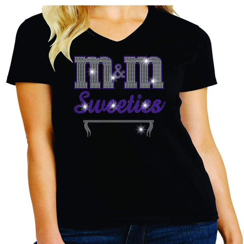 Image of M&M Sweeties Twirl Team Spangle Rhinestone Womens Short Sleeve V-neck Shirt Ladies Short Sleeve V-neck Beckys-Boutique.com Extra Small Black