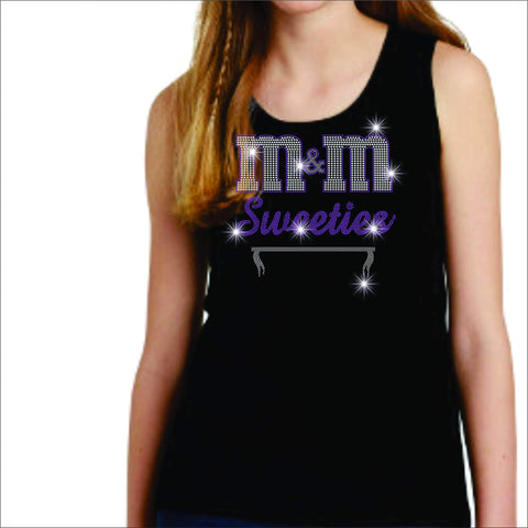 M&M Sweeties Twirl Team Spangle Rhinestone Youth Tank Youth tank top Beckys-Boutique.com Extra Small Black