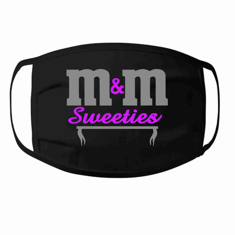 M&M Sweeties Twirlers Face Mask- Printed and Bling Becky's Boutique Printed Adult