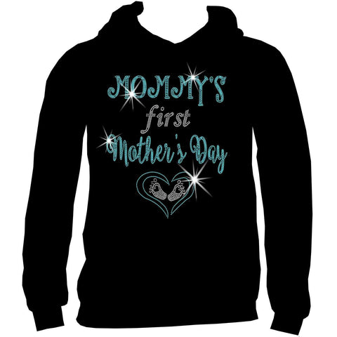 Mommy's First Mother's Day Heart and Baby Feet - Ladies Short Sleeve V-Neck, Long Sleeve V-Neck, Racerback Tank, Unisex hooded Sweatshirt-Long Sleeve V Neck, Short Sleeve V -Neck, Hoodie Sweatshirt-Becky's Boutique-XS-Unisex Hooded Sweatshirt-Beckys-Boutique.com