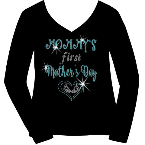 Mommy's First Mother's Day Heart and Baby Feet - Ladies Short Sleeve V-Neck, Long Sleeve V-Neck, Racerback Tank, Unisex hooded Sweatshirt-Long Sleeve V Neck, Short Sleeve V -Neck, Hoodie Sweatshirt-Becky's Boutique-XS-Long Sleeve V-Neck-Beckys-Boutique.com