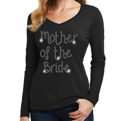 Mother of the Bride Wedding Spangle Rhinestone Bling shirt - Ladies Long Sleeve V-Neck Ladies Long Sleeve V-neck Becky`s Boutique Extra Small