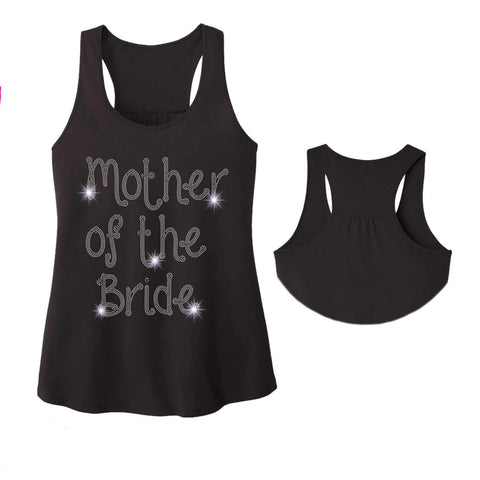 Mother of the Bride Wedding Spangle Rhinestone Bling shirt - Ladies Racerback Tank ladies racerback tank Becky`s Boutique Extra Small