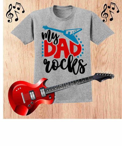 My Dad Rocks - Father's Day Short Sleeve Screen Printed Shirt Short Sleeve Crew Neck Mens Beckys-Boutique.com Small