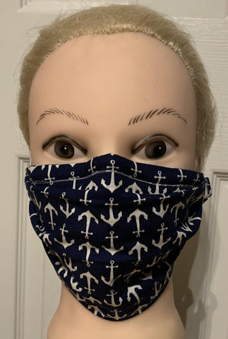 Nautical Anchor Print Face Mask, Adult and Child Sizes, For dust, travel, pet grooming, gardening and medical. Washable, Reusable with adjustable nose piece Face Mask Becky's Boutique