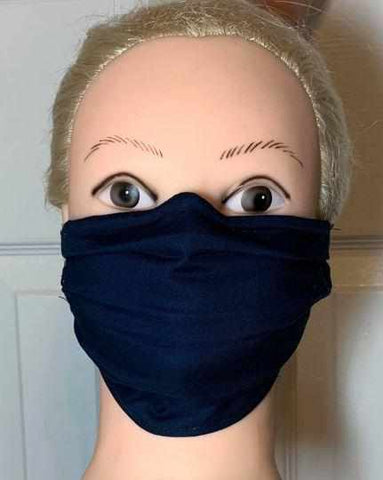 Image of Navy Blue Face Mask, Adult and Child Sizes, For dust, travel, pet grooming, gardening and medical. Washable, Reusable with adjustable nose piece Face Mask Beckys-Boutique.com Adult