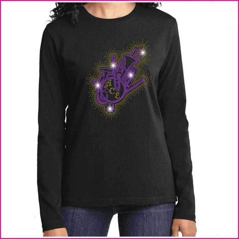 Image of OCPS ACE Band Instrument splash Spangle Rhinestone Shirt- youth and ladies-multiple colors available, short or long sleeve Schools Becky's Boutique