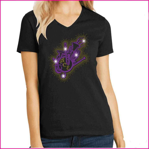 Image of OCPS ACE Band Instrument splash Spangle Rhinestone Shirt- youth and ladies-multiple colors available, short or long sleeve Schools Becky's Boutique Womens Extra-small Womens short sleeve V-neck Purple