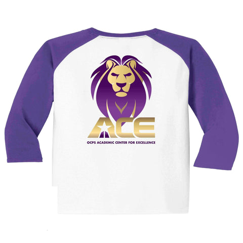Image of OCPS ACE Baseball colored 3/4 sleeves Spangle Rhinestone Bling Shirt- available in unisex and youth sizing Schools Becky's Boutique Unisex Small bling- standard lion head logo