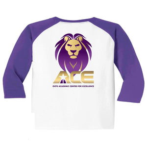 OCPS ACE Baseball colored 3/4 sleeves Spangle Rhinestone Bling Shirt- available in unisex and youth sizing Schools Becky's Boutique Unisex Small bling- standard lion head logo