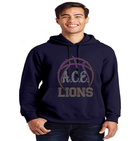 OCPS ACE Basketball Spangle Rhinestone Bling Hoodie- Adult and Youth sizes available-Schools-Becky's Boutique-Adult Small-Gold-Beckys-Boutique.com