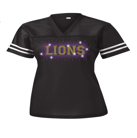OCPS ACE Lions Mesh Jersey- Spangle Rhinestone Bling mesh jersey Schools Becky's Boutique Juniors Small standard lion head logo