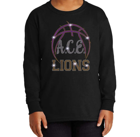 OCPS ACE Spangle Rhinestone Bling Shirt- Basketball logo - Youth Long Sleeve Youth Long Sleeve Becky`s Boutique Extra Small