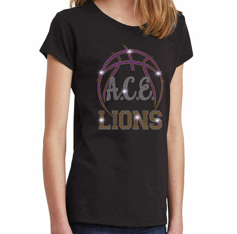 OCPS ACE Spangle Rhinestone Bling Shirt- Basketball logo - Youth Short Sleeve Youth Short Sleeve Becky`s Boutique Extra Small