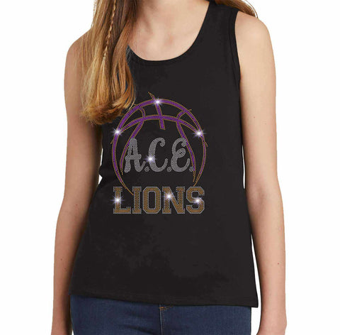 OCPS ACE Spangle Rhinestone Bling Shirt- Basketball logo - Youth Tank Youth Tank Becky`s Boutique Extra Small