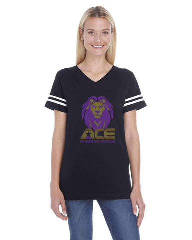 OCPS ACE Spangle Rhinestone Bling Jersey with stripes Shirt- Standard logo-multiple colors available Schools Becky's Boutique Womens Sizing Small standard ACE lion head logo