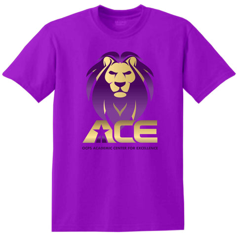 OCPS ACE standard logo screen print - available in adult, youth, short, long sleeve, tank or hoodie sweatshirt Schools Becky's Boutique Adult Small Adult Short Sleeve Crew Neck Short Sleeve T-shirt Purple