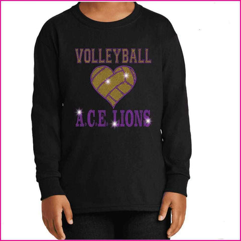 OCPS ACE Volleyball Spangle Rhinestone Shirt- youth and ladies-multiple colors available, short or long sleeve Schools Becky's Boutique